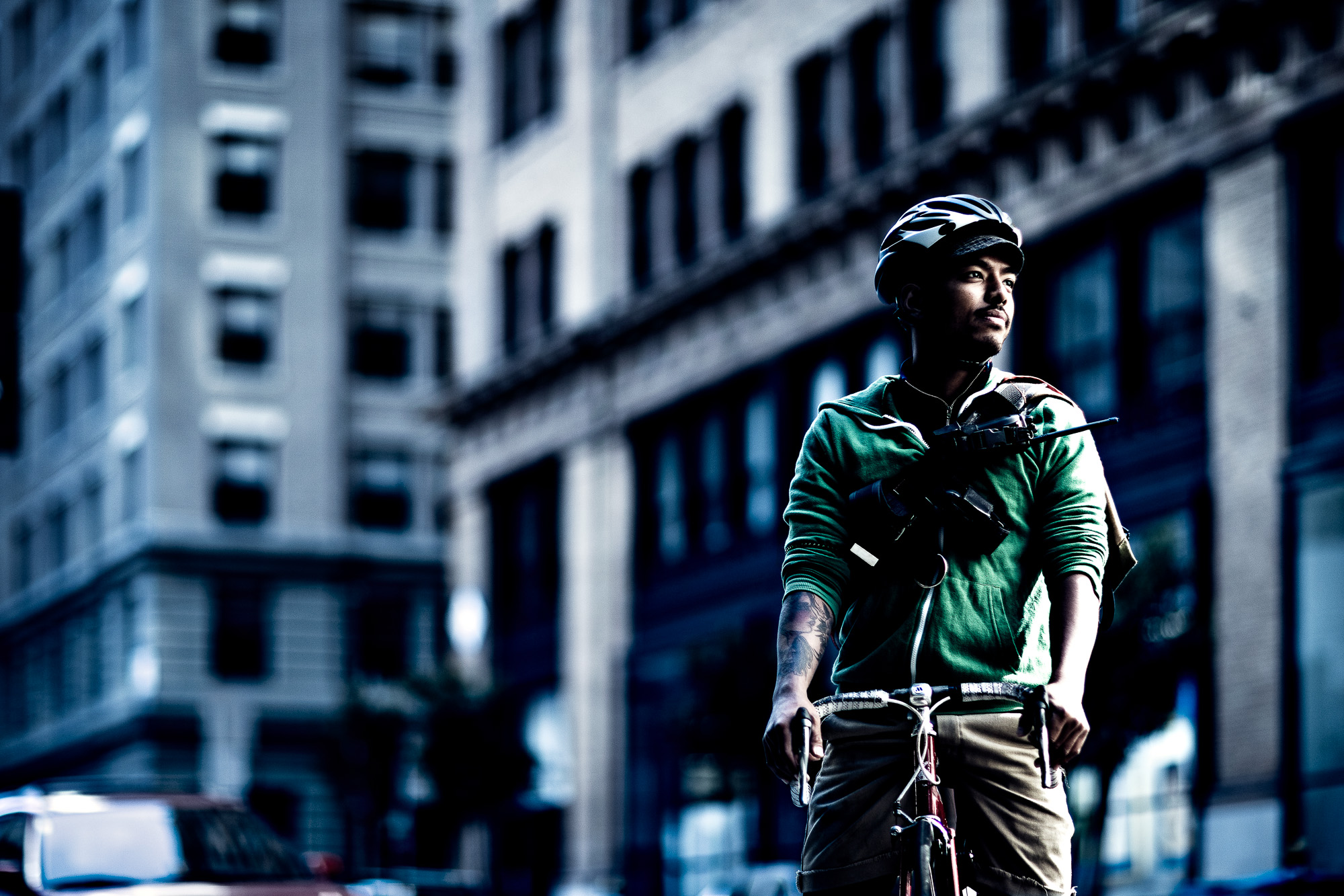 Bike Messenger Portrait for ACT Advertising campaign