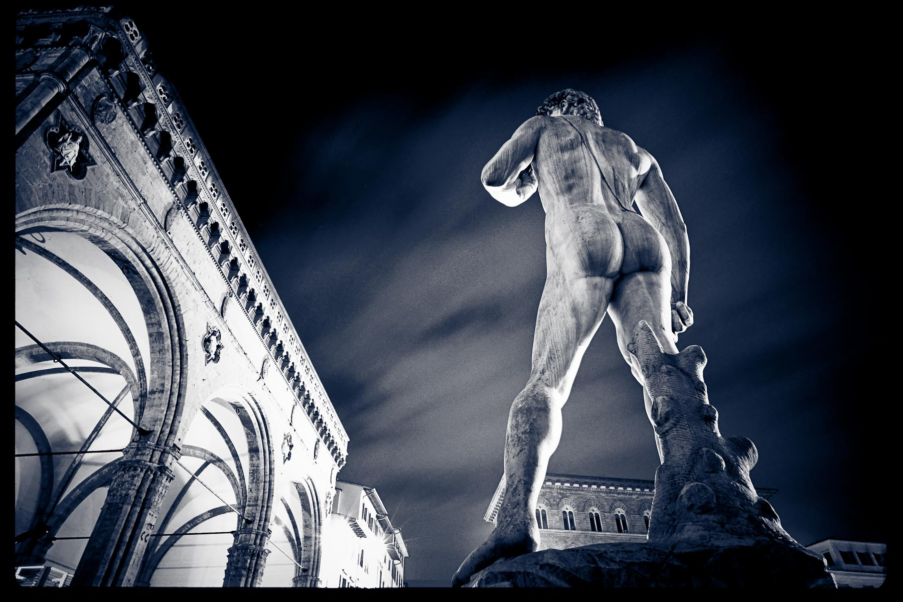Statue of David in Square. Florence Italy
