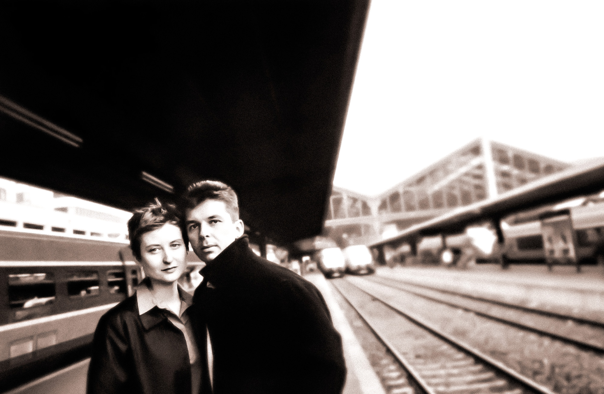 Couple at Gare du Nord train station, Paris France