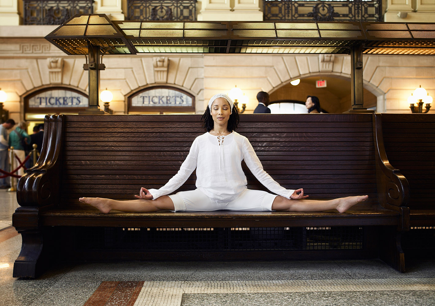 Yoga everywhere for American Express and NJ Transit