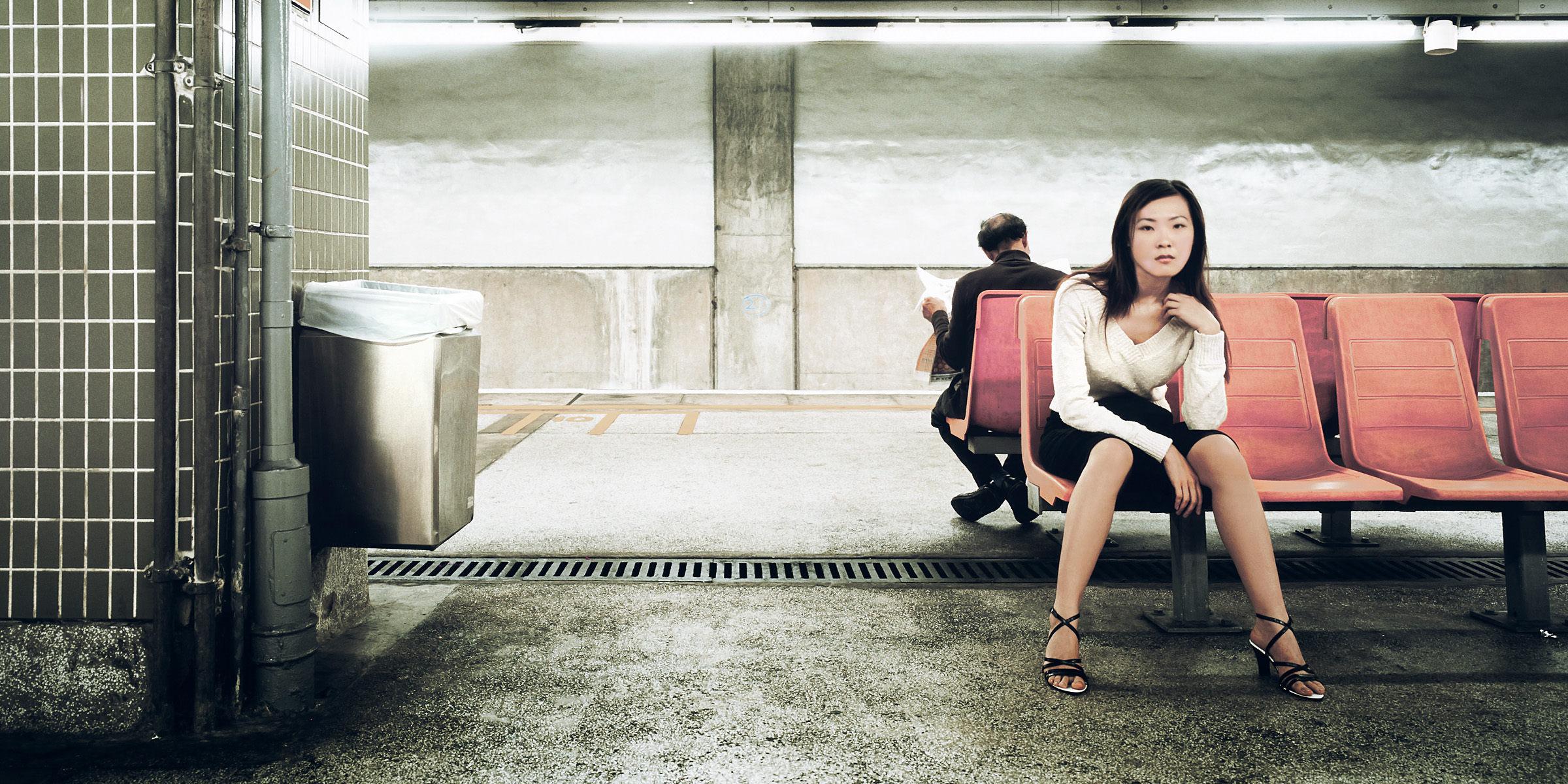 Portrait of young woman on Hong Kong Subway