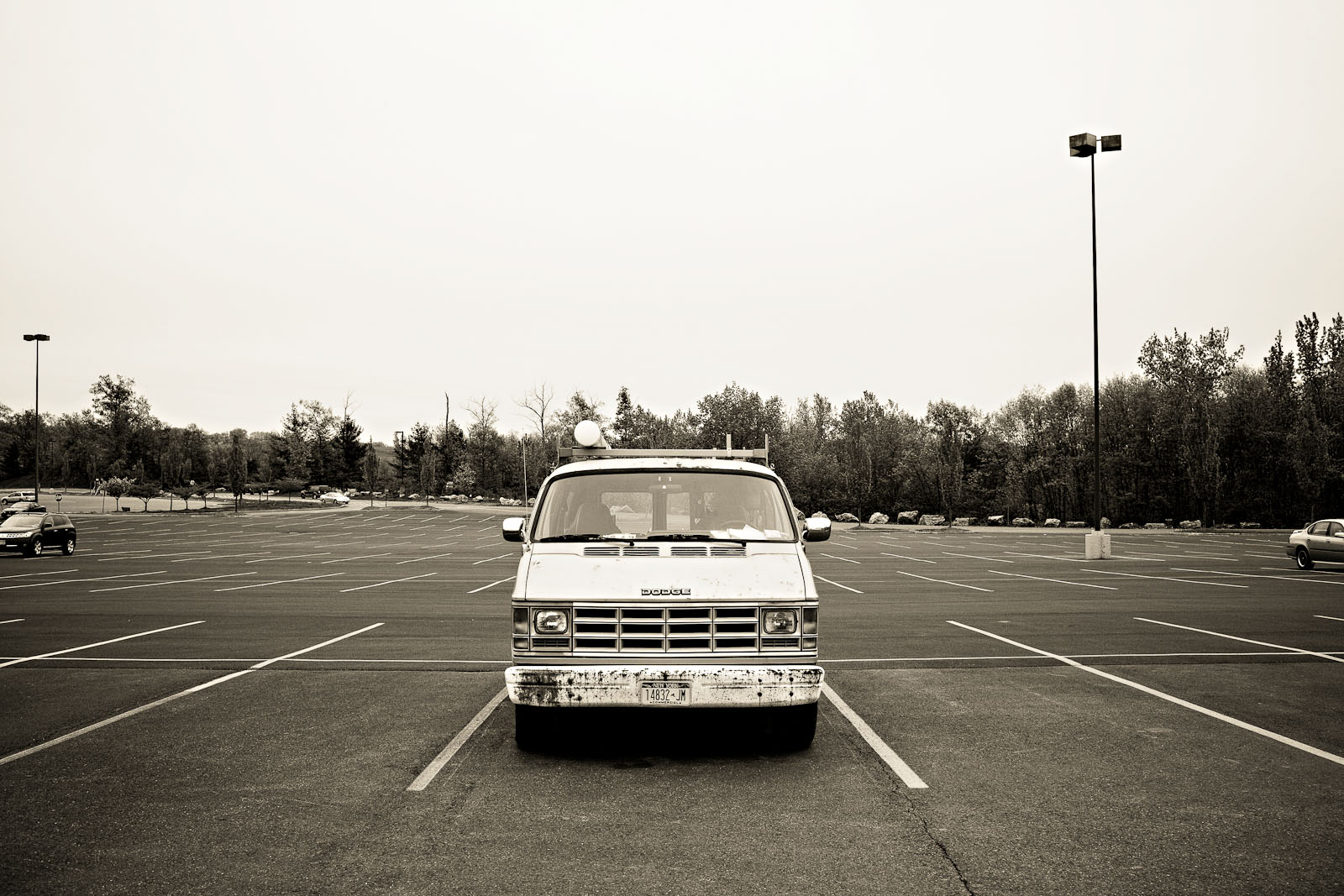 Van in deserted parking lot, Kingston NY